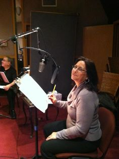 Katie Leigh, voice of Connie Kendall, in studio.