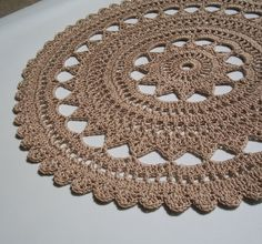 Tea-Dyed Thread Crochet Doily in Rich Beige