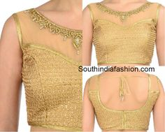 Boat Neck Gold Brocade Blouse