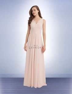 Bridesmaid Dress Style 1115 - Bridesmaid Dresses by Bill Levkoff. Store Sample in Petal Pink, Size 10. Chiffon V-front and back gown with pleated sheer shoulder straps. Criss-cross pleats accent the waist. Soft front gathers. #InWhiteSpringfield