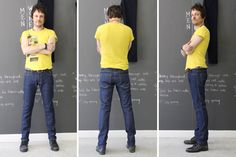 MEN'S SKINNY | The Spreewells: Richard Wittman (voice, rhythm guitar)  Denim: Candiani Origin: Italy  Weight: 12.5 oz. Material: 98% Cotton 2% Elastin  Button: Starcrest  Zipper Color: Black  Threading Color: Yellow  Pocket Lining: Polka Dot