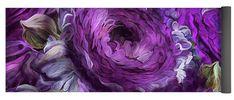 Peonies In Purples 2 yoga mat featuring the art of Carol Cavalaris.