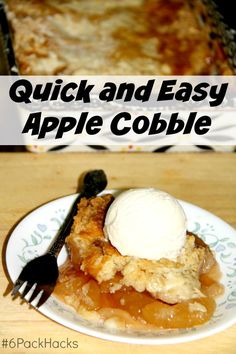 Quick and Easy apple cobbler, so good and so easy. It's a 3 ingredient dessert.