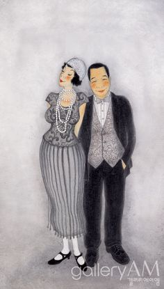 #Oriental painting   - Husband and wife 2004, Youk Shim-won