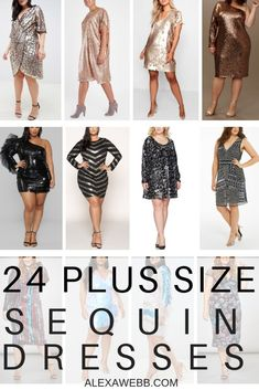 24 Plus Size Sequin Dresses - Alexa Webb Sequin Dress With Sleeves, Plus Size Sequin Dresses, Plus Size Party Dresses, Dress Plus Size, Plus Size Pants, Dresses With Sleeves, Dresses Dresses, Holiday Party Outfit, Holiday Party Dresses
