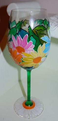 Hand Painted Wine Glass - Daisies glass art, paited wine glasses, paint wine, paint glass, glass paint