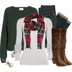 Plaid scarf, white tee, grey sweatshirt, jeans, brown leather boots