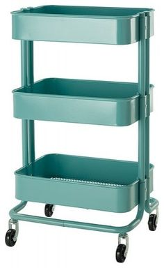 This IKEA rolling cart now lives in my kitchen and is sturdy, a great size and stinkin cute!