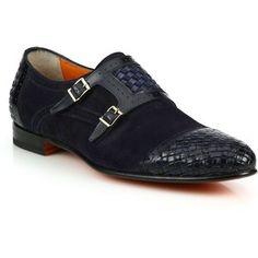 Santoni Woven Leather & Suede Monk-Strap Shoes : Santoni Shoes