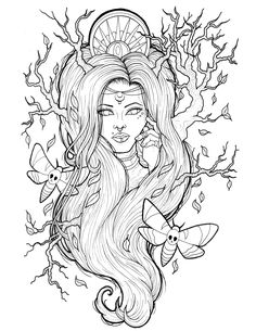 Colouring Pages, Adult Coloring Pages, Coloring Books, Outline Drawings, Art Drawings, Gypsy Tattoo Design, Girl Outlines, Tattoed Girls, Step By Step Drawing