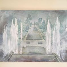'Two Dimensions' 2016 oil on board, looking down into the gardens at Villa d'Este in Tivoli. Inspired by a sketch I made whilst at the gardens in 2014. Currently on display in South Leigh https://m.facebook.com/events/362271414152625 #southleigh #art #exhibition #tivoli #italiangarden #paintingwater #villadestetivoli