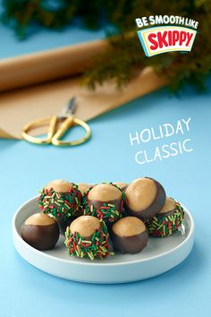 We added a little holiday magic to our classic SKIPPY® Buckeye recipe. Cookie Desserts, Holiday Cookies, Holiday Baking, Christmas Desserts, Holiday Treats, Just Desserts, Holiday Recipes, Delicious Desserts, Holiday Cupcakes