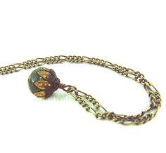 Green jade gemstone gold and black antique bronze by ardorfire, $28.00
