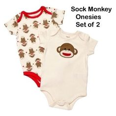 Sock Monkey Baby Onesies - Set of Two- Size 9-12 Months