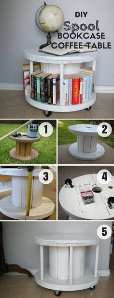 Check out this easy idea on how to build a #DIY spool bookcase coffee table for #homedecor on a #budget #crafts #project @istandarddesign