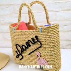 Jute Crafts, Denim Crafts, Craft Stick Crafts, Jute Tote Bags, Reusable Tote Bags, Diy Burlap Bags, Creative Activities For Kids, Boho Bags, Fabric Bags