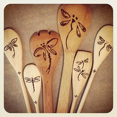 Woodburned kitchen and salad spoons - dragonflies