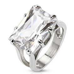 New Stainless Steel 10 carat Princess Cut Solitaire Clear CZ Ring Size