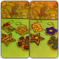 Lovely pyrography design key rings, all ready for new homes! X