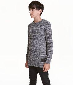 Strikket genser | Mørk gråmelert | Barn | H&M NO