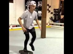 Peter Dale and the Farm Tough Hockey crew provides great balance board workouts for hockey training, focusing on strengthening balance and core, while also i. Hockey Workouts, Hockey Drills, Hockey Training, Sports Training, Balance Board, Skating, Exercises, Sporty, Ice