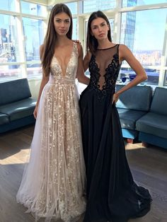 Champagne A-Line V-Neck Appliques Long Prom Dress by lass, $176.00 USD