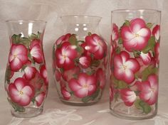 Hand Painted Vase Set 3  Blossoms  Berry/White by EverMyHart, $49.95