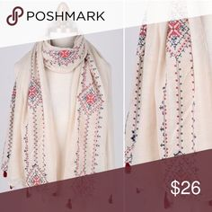 Light Bohemian Embroidered Ivory Scarf This bohemian embroidered scarf is very light weight and perfect for those warmer days leading into spring! Accessories Scarves & Wraps
