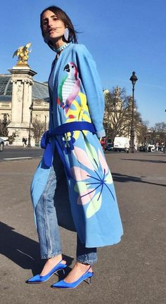 Shop now. Mira Mikati. Street Style. Parrot Robe.