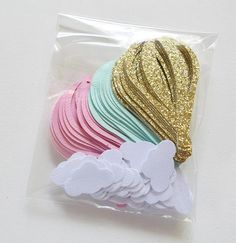 Hot Air Balloon Confetti Mint Pink Gold Table Scatter Hot