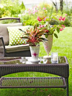 •Pretty Planters   Think these are just garden vases? They actually had a previous life as light fixtures. High-performance enamel forms a rust-preventive finish on metal light fixtures. Remove electrical parts, then brush on one coat of exterior primer and top with two coats of enamel, allowing time to dry between applications. Use paint pens to make patterns. Here, Chinese evergreen and begonia enjoy a summer vacation outdoors.