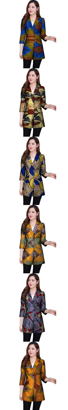 Women Retro African Blazer Female Fashion Pattern Printed Suit Seven Quarter Sleeve Design Custom Lady Dashiki Clothes