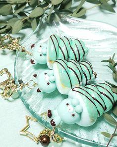 Cute Polymer Clay, Polymer Clay Crafts, Handmade Polymer Clay, Japanese Cartoon Characters, Kawaii Bento, Food Patterns, Japanese Sweets, Mint Chocolate, Cute Food