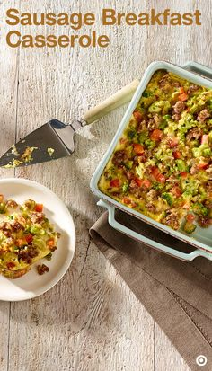 Here's a delicious breakfast casserole that's sure to bring the whole family to the table. Preheat oven to 350°F. In a large skillet, cook sausage & onion for about 8-10 minutes. Stir frequently. Drain & keep it aside. Place hash browns in a 13x9-inch baking pan & cover them with layers of sausage mixture, broccoli, tomato & cheese. In a large bowl, blend eggs, milk, salt & pepper. Pour this mixture in a pan & bake it for 35-45 minutes. Let it cool for 10 minutes. Cut into squares & serve.