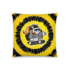 Skate Girl Black & Yellow Pillow - Tie-dye Bust Collection - 18×18