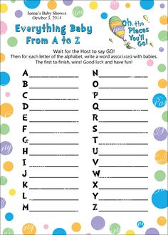 Printable Personalized Oh The Places You'll Go Everything Baby Shower Game Card  by TwoPartyDivas