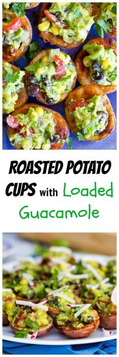 Everyone will go crazy for these Roasted Potato Cups with Loaded Guacamole!  They are the perfect appetizer for your next party! gluten free, vegan
