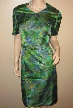VTG 60's BLUE & GREEN PRINT POLISHED COTTON LINED DRESS w/MATCHING BELT