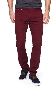 Bullhead Denim Co Drakes Skinniest Port Royal Twill Pants - love this deep wine color on men.