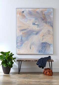 This DIY Abstract Watercolor Art Is Perfect for Beginners You don't have to be a professional painter to make this large-scale abstract artwork. Its free-form swirling pattern is simple to create (and forgiving of flaws), and a DIY frame elevates the look Canvas Art Projects, Easy Canvas Art, Large Canvas Art, Diy Canvas, Modern Canvas Art, Diy Art Projects, Custom Canvas, Large Art, Wall Canvas