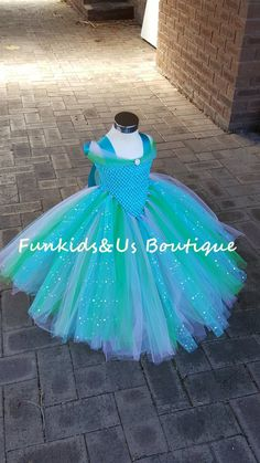 Blue lavender and Green  Gown Tutu Dress -Princess Dress-  Stunning Princess Glittery Gown dress inspired by FunkidsandUs Boutique
