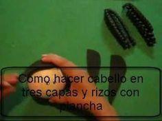 Como Hacer Rizos Con Plancha Y Cabello En Tres Capas Para Fofuchas En Foami O Gomaeva - YouTube