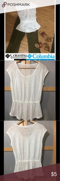 Columbia top Thin and light for hot summer days. Never wore just tried on. Elastic waist Columbia Tops Blouses