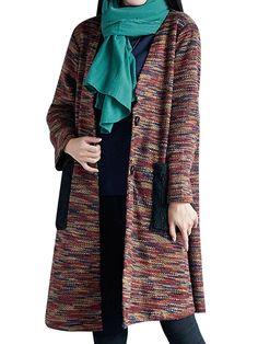 Sale 10% (38.29$) - Vintage Patchwork Pocket Long Sleeve Winter Knitted Loose Sweater Coat