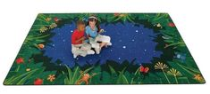 Peaceful Tropical Night Playroom Rug x - Carpets for Kids Kids Play Area, Kids Room, Classroom Carpets, Preschool Furniture, Classroom Furniture, Nighttime Sky, Early Childhood Centre, Playroom Rug, Carpets For Kids