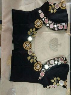 Ideas Embroidery Blouse Indian Black You are in the right place about bow blouse designs Here we Pattu Saree Blouse Designs, Blouse Designs Silk, Designer Blouse Patterns, Sari Blouse, Indian Blouse, Bow Blouse, Blouse Outfit, Sheer Blouse, Sleeveless Blouse