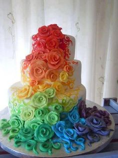 A seasonal cake meant for spring and it is just like a rainbow which reminds us of rain which reminds us of spring which reminds us of flowers.