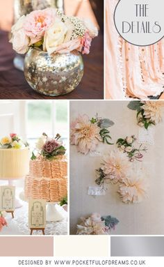 Flowers in a soft with colour palette of dusky pink, creams and dove grey