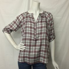 BB Dakota- Red and White Plaid Popover Top BF44287 - Suburban Casuals