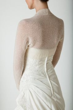 46156908f15eb0 Wedding Bolero knitted with only two seams the perfect match for your  wedding dress in white, off white, ivory and other colours